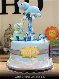 Twin Elephants Baby Shower Cake