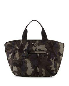 Tessuto Camo-Print Tote Bag, Gray Multi (Fumo) by Prada at Bergdorf Goodman.