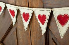 Valentine Bunting Valentine Bunting Banner, Felt