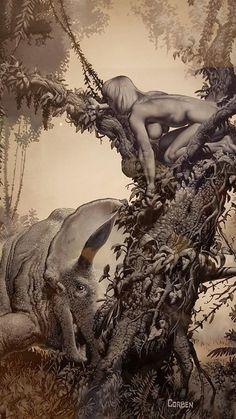 richard corben Dark Fantasy Art, Fantasy Artwork, Arte Pulp Fiction, Heavy Metal Art, Bd Comics, Wow Art, Science Fiction Art, Sci Fi Art, Comic Artist