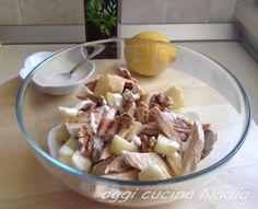 Oggi cucina Nadia: Insalata agrodolce di pollo, mela verde, noci e salsa yogurt