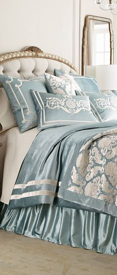 Aqua and Ivory Bedding - Design Nashville Ivory Bedding, Blue Bedding Sets, Comforter Sets, Beautiful Bedding Sets, Beautiful Bedrooms, Luxury Duvet Covers, Luxury Bedding Sets, Bed Linen Design, Bed Design