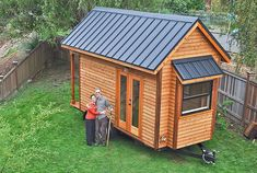 Tammy and Logan's Tiny house on wheels.....it  is their 150 square foot permanent home in Portland, Oregon. After searching high a low for a place to park their home, an acquaintance offered their backyard in exchange for rent.