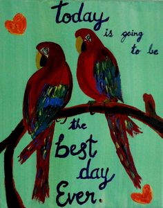 Valentine gift sale Colorful Motivational Macaws art by PreethiArt