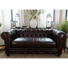 Elements Fine Home Estate Leather Loveseat - EST-L-SADD-1, Durable