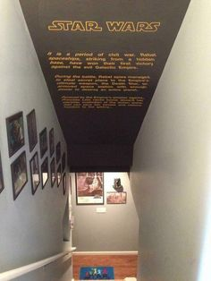 Star Wars A New Hope screen crawl staircase decoration Man Cave Garage, Man Cave Basement, Basement Stairs, Basement Ideas, Basement Bedrooms, Man Cave Designs, Bar Designs, Starwars, Man Cave Bar