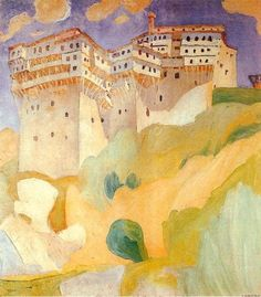 Abbey Dionysiou, 1924 by Spyros Papaloukas Greece) Painter Artist, Artist Painting, Impressionist Paintings, Landscape Paintings, Landscapes, Greek Paintings, Oil Paintings, Modern Art, Contemporary Art