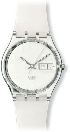 Swatch Women's GK733 Quartz White Dial Plastic Date Watch  Price: $60.00