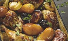 Yotam Ottolenghi - Chicken with potatoes, prunes and pomegranate molasses Yotam Ottolenghi, Ottolenghi Recipes, Duck Recipes, Chicken Recipes, Chicken Ideas, Gf Recipes, Greek Recipes, Otto Lenghi, Prune Recipes