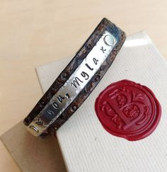 Personalized leather cuff bracelet Custom by BlueCornerCreasigns