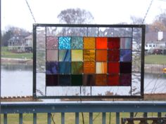Stained glass panel window rainbow squared geometric abstract stained glass window panel via Etsy.