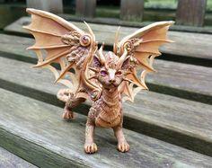 Cat Dragon Miniature Sculpture