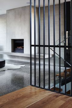 Smooth and aggregate concrete, wood, metal, and cowhide. Can't go wrong with all that in the pic!