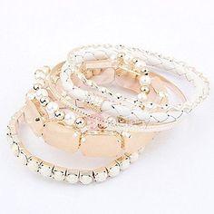 #TideBuy - #TideBuy Brilliant White Fashion Ladys Alloy and Pearls Bracelets Set - AdoreWe.com