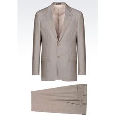 ARMANI COLLEZIONI Comfort Fit Suit In Virgin Wool ($1,595) ❤ liked on Polyvore featuring men's fashion, men's clothing, men's suits, dove grey and armani collezioni