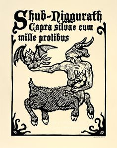 Shub-Niggurath goat mother woodcut print necronomicon page.