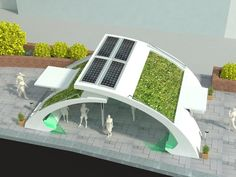 Green bus stop project on Behance
