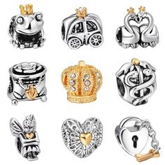 Unique Silver Beads Gold Hearts Crown European Charms Bead Fit Pandora  Style Bracelet Bangle DIY Original 3ca2cf93ea27