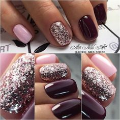 54 Autumn Fall Nail Colors Ideas You Will Love Burgundy & Pink nails. Are you looking for autumn fall nail colors design for this autumn? See our collection full of cute autumn fall nail matte colors design ideas and get inspired! Pink Gel Nails, Dark Nails, Fancy Nails, Love Nails, Trendy Nails, My Nails, Matte Nails, Opi Shellac, Acrylic Nails
