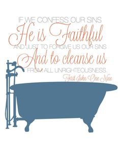 For the bathroom...1 John 19 8x10 print by NaptimeDiaries on Etsy, $12.00
