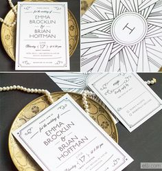 Art Deco wedding invitations ... perfect for how popular 1920's / Gatsby themed weddings are becoming.