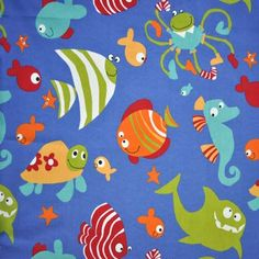 Rem246: Fish - Cobalt [0.55 metres] - £3.75 Item Price    kidsfabrics.co.uk