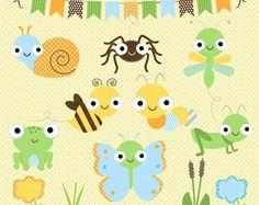 Insectos Felices  Set de Clipart y Papeles Digitales