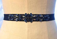 Navy Deep Blue Crystal Embellished Midnight Grosgrain Ribbon Bridal Sash from Blushing Bridal Shop. Www.etsy.com/shop/blushingbridalshop