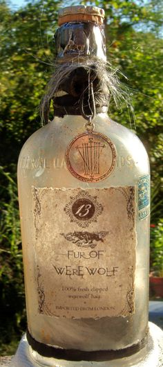 Altered Halloween Bottle Fur of Werewolf by CKGraphics on Etsy, $20.00