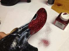 How to make Ruby slippers with glitter