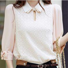 2014 novo tamanho das mulheres mais roupas de renda chiffon shirts blusas femininas camisa de chiffon top básico US $10.98