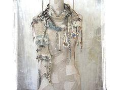 Boho scarf knit , Art Hand knitted scarf , Bohemian clothing, Gypsy knit women…