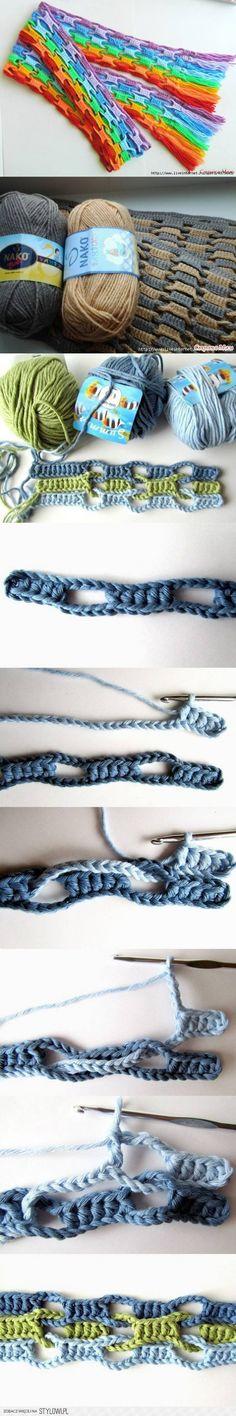 Grappige techniek. Weer een andere manier om een sjaal te maken bijv een regenboogsjaal