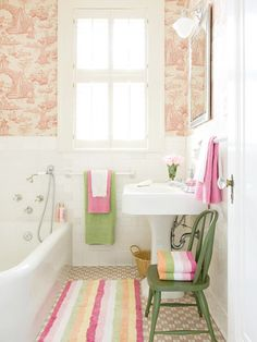 toile wallpaper, pink and green accents