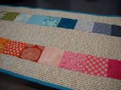 Quilted Handmade Text Print Patchwork Table by Clothstitched