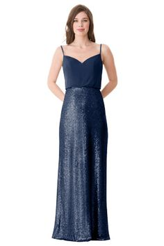 Luxe Chiffon blouson top with spaghetti straps. Slim sequin skirt. Low back with center back zipper. | Style 1677 in Indigo #bridesmaids #wedding