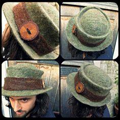 Hand felted wool handmade felt hat 'Wanderer' deep by Innerspiral