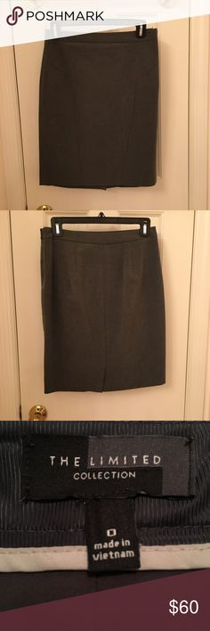 The Limited Gray Pencil Skirt The Limited gray pencil skirt. Size 0. This skirt is perfect for the office or a professional outing. The seam split a bit on the inside of the slit and the there's a bit of thread that came out on the inside of the waist. The Limited Skirts Pencil