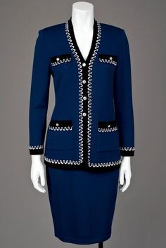 Rodeo Drive Resale - www.shopRDR.com - 100% Authentic Guaranteed - St John Knits Sapphire Blue Santana Jacket & Skirt Suit With Crystal Earrings (2/4)