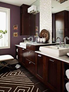 dark wood and purple bathroom