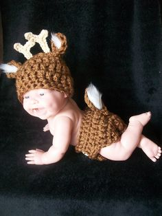 Baby Whitetail Deer Hat and Diaper Cover Set. How cute!@Rachelle @ Simple Stitches