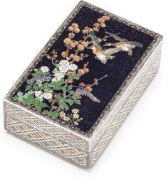 A silver and cloisonne enamel box and cover By Namikawa Yasuyuki, Meiji era (late 19th century)