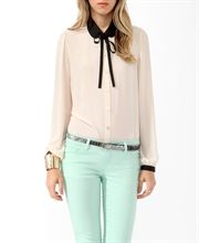Bow streamers long-sleeved shirt