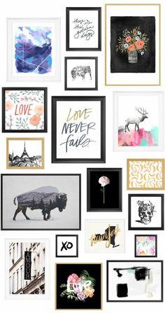 mur de cadres, images blanc et noir, tableau citation inspirante, dessin multicolore, dessin cerf