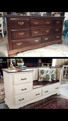 Old Furniture Into Fresh Finds for Your Home A beat-up dresser from the has a whole new life…a bench with storage plus a built-in side table.A beat-up dresser from the has a whole new life…a bench with storage plus a built-in side table. Refurbished Furniture, Repurposed Furniture, Painted Furniture, Vintage Furniture, Farmhouse Furniture, Upcycled Furniture Before And After, Farmhouse Bench, Diy Old Furniture Makeover, Luxury Furniture