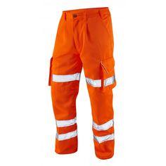 Leo Hi Vis Reflective Safety PPE Cargo Trousers Large size Polycotton Orange 42-60 Regular, Short, Long Leg