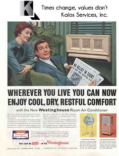 I think the lady is more in love with the air conditioner than her husband. Single Room Air Conditioner, Window Air Conditioner, Retro Advertising, Vintage Advertisements, Vintage Ads, Vintage Appliances, Odd Couples, Vintage Windows