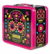 colorful black metal sugar skull lunch box with magenta pink trim