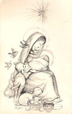 Joan Ferrándiz – Madre e Hijo y ovejas pastoras – España 1965