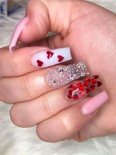 Valentine Nails, Valentines Day, Valentine Gifts, Saint Valentine, Valentines Surprise, Valentine's Day Nail Designs, Cute Acrylic Nail Designs, Heart Nail Designs, Nails Design